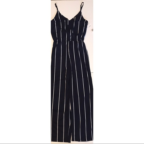 great deals on fashion new lifestyle shop Zaful Striped Navy & White Jumpsuit NWT